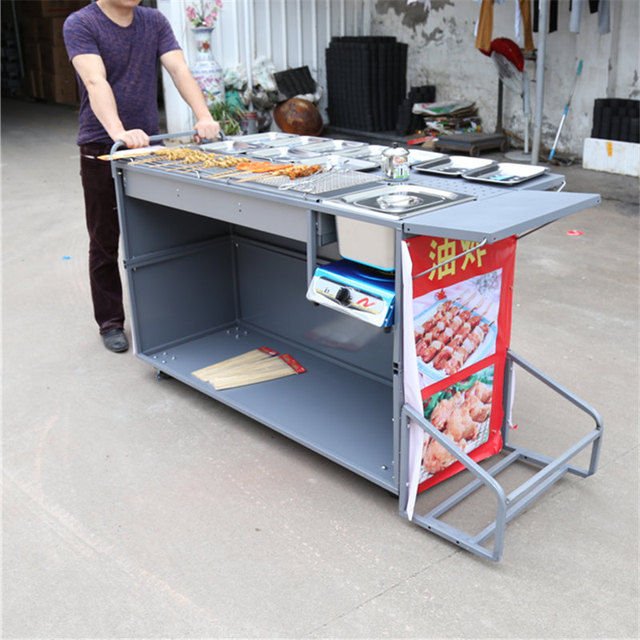 Barbecue Tools Business Stall Barbecue Car Charcoal Grill Thickened Mutton  String With Gas Frying Pan Snack