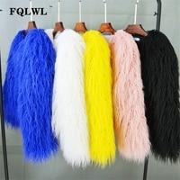 FQLWL Colorful Warm Faux Women Fur Coat Plus Size Black White Pink Plush Coat Female Jacket Fur Autumn Winter Shaggy Outerwear