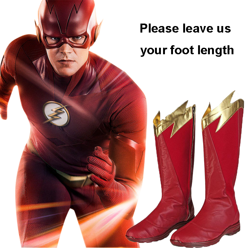The Flash Season 5 Costume Superhero Cosplay Shoes Barry Allen Accessories Party Boots Leather Halloween Carnival