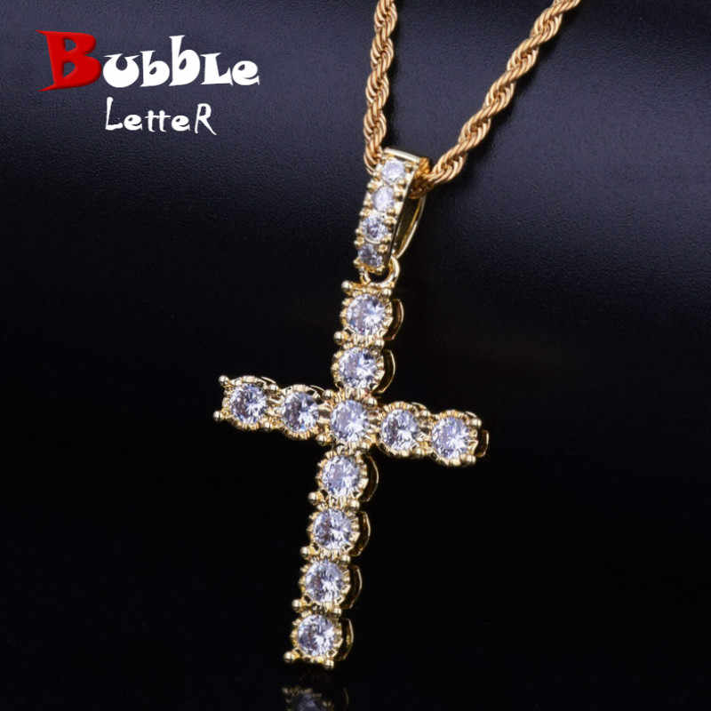 NEW Gold Zircon Cross Pendant Gold Silver Copper Material Iced AAA CZ Cross Pendants Necklace Men Women Hip Hop Jewelry