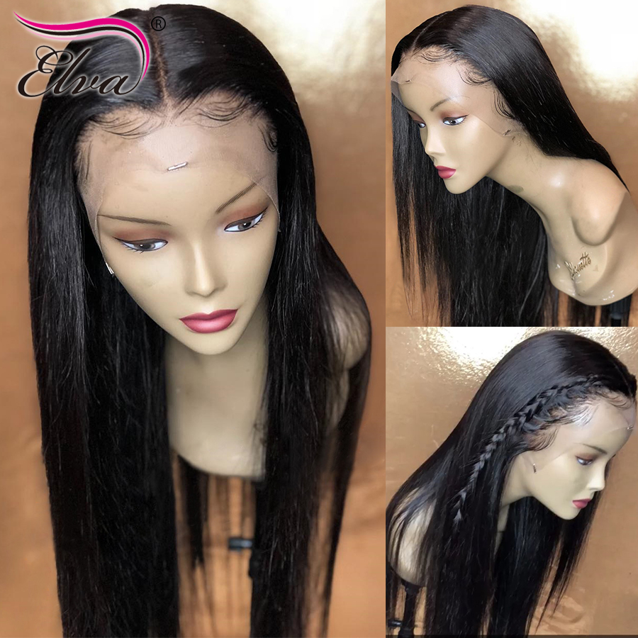 150 Density 13x6 Lace Front Human Hair Wigs Brazilian Remy Elva Hair Wig Pre Plucked Straight