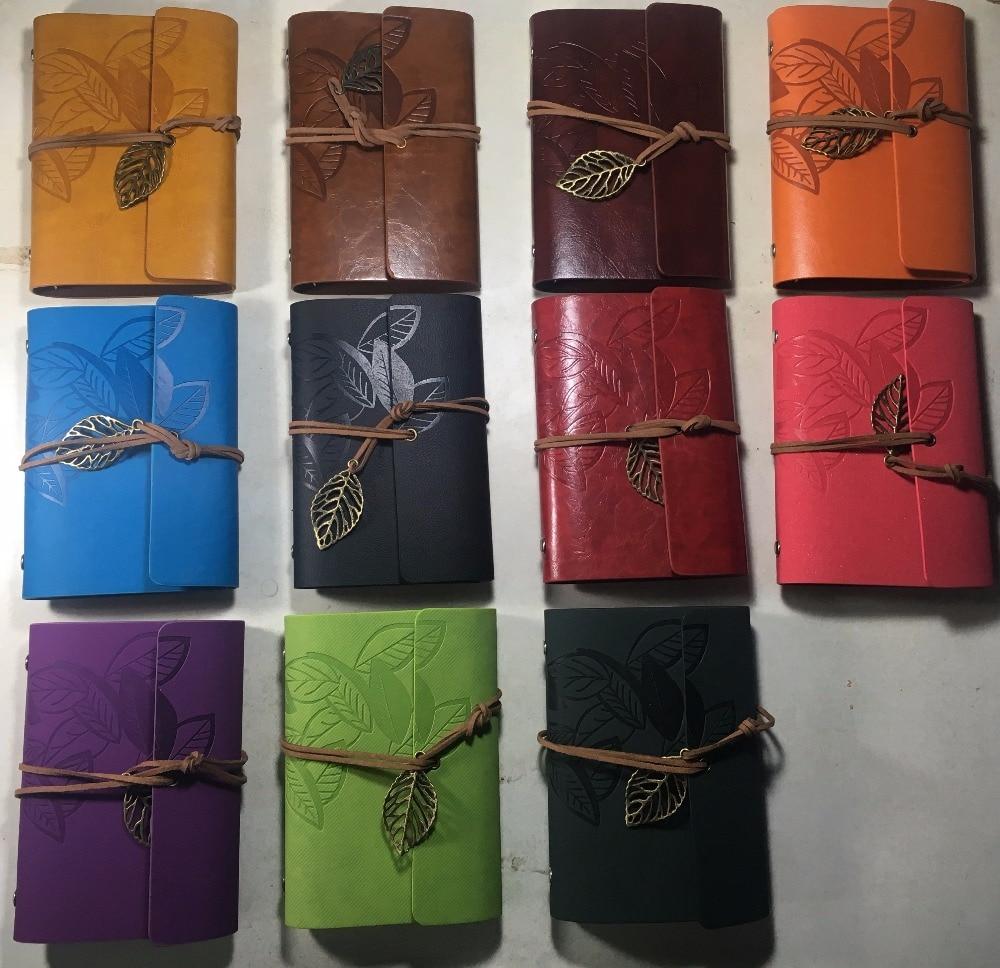 W-10cm*14.6cm vintage leaf cover 10 colors travel journal notebook(1piece)