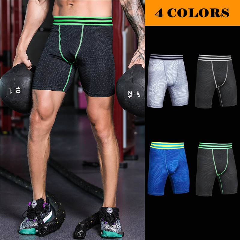 New 2018 Fitness mens basketball running training elastic compression quick-dry tight Scales lines tight sports Exercise Shorts