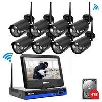 8CH 1080 P IP Camera Draadloze CCTV Bewakingscamera WIFI Kit NVR Surveillance Camera Kits Video Monitor Outdoor LCD Screen