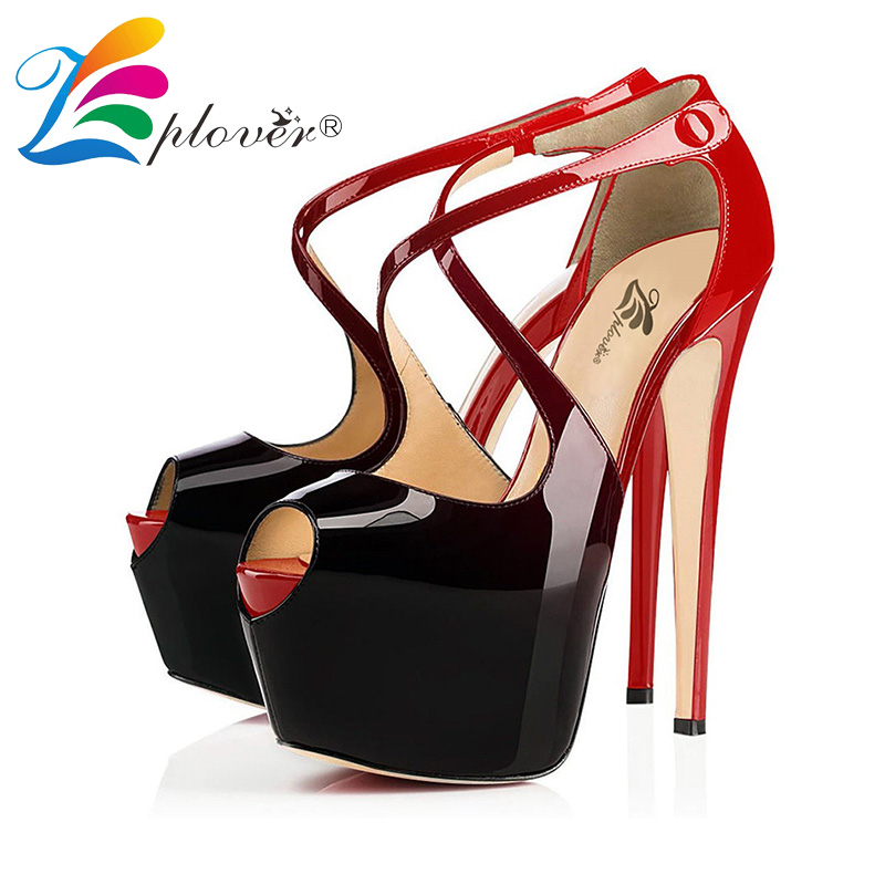 Women Sandals Summer Fashion Women Shoes Extreme High Heels Platform Pumps Ladies Shoes Patent Leather Woman Sandalias Size34-46 2017 free shipping siketu spring and autumn women shoes fashion high heels shoes wedding shoes pumps g174 summer sandals