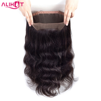 ALI HOT Brazilian Body Wave 360 Lace Frontal Closure Pre Plucked With Adjustable Straps 100% Human Remy Hair Natural Hairline