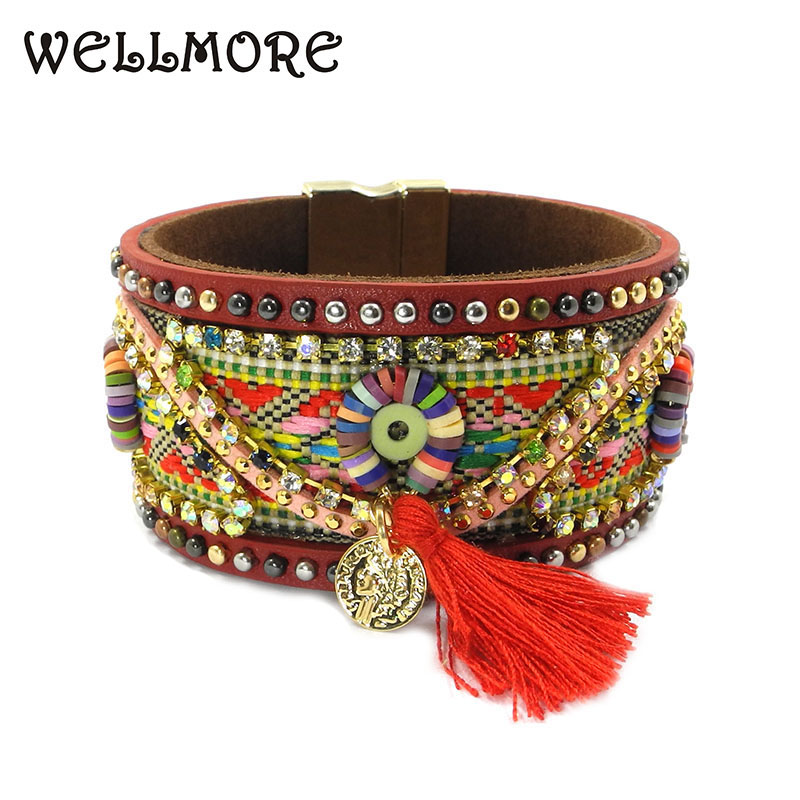 wellmore 2017 leather ,tassel details Magnetic wrap bracelets have 3 size Bohemian bracelets&bangles for women