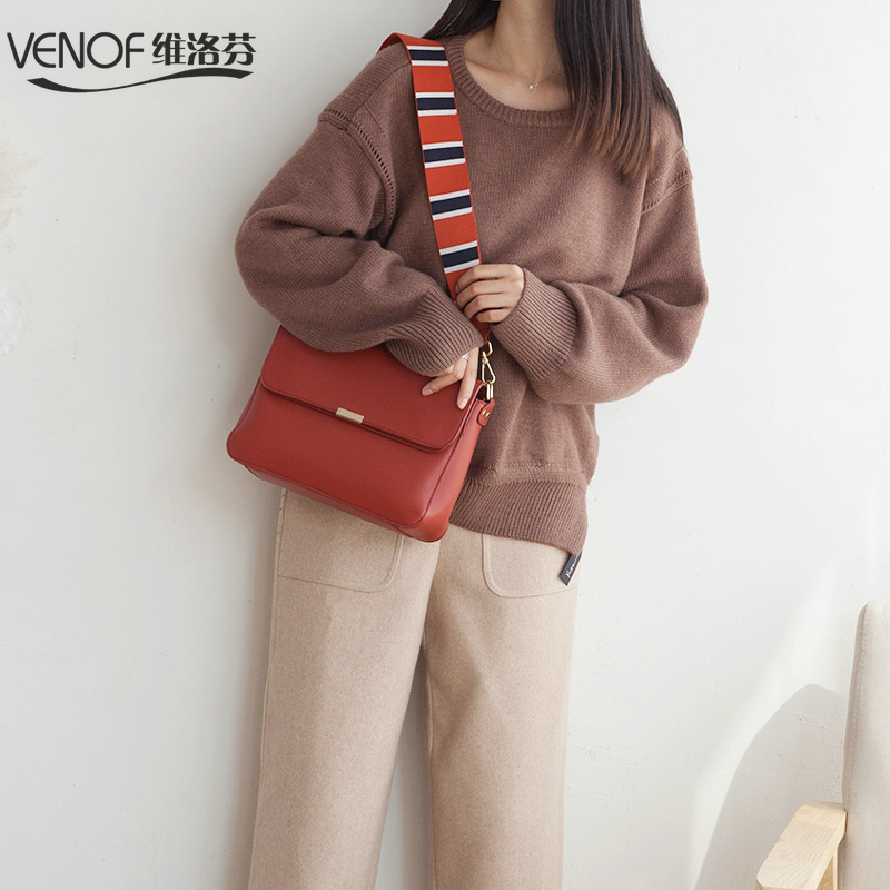 VENOF Fashion split leather wide straps women crossbody bags elegance ladies shoulder bag Luxuy leather messenger