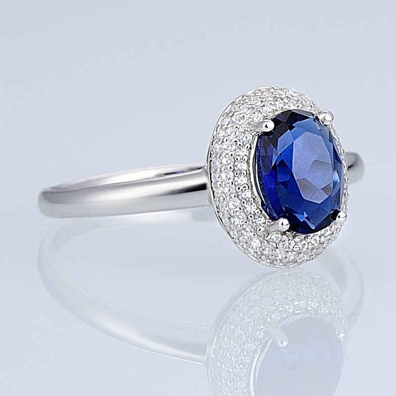 SANTUZZA เงินแหวนแหวนหมั้นแต่งงานแหวนรูปไข่ Cubic Zirconia แหวนเงินแท้ 925 แฟชั่นเครื่องประดับ