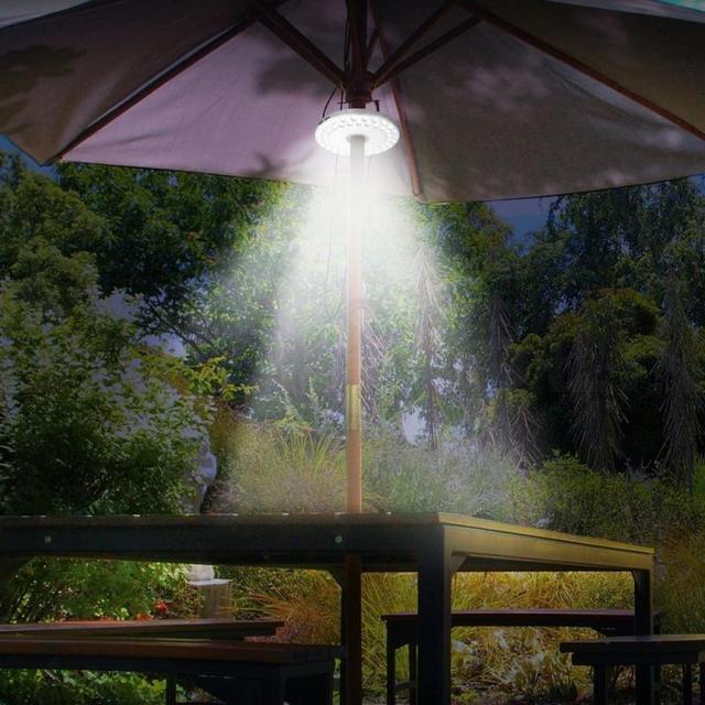 Outdoor LED Lighting Lamps Umbrella Night White Lamp Pole Light Yard Garden  Lawn