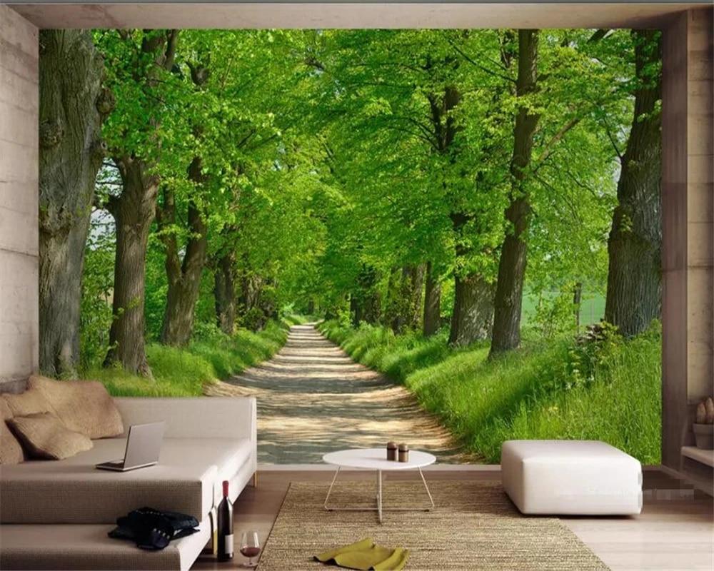 Carta Da Parati 3 D.Beibehang Custom Wallpaper Mural Nature Forest Avenue Landscape 3d Tv Background Wall Painting Carta Da Parati 3d Wallpaper Wallpapers Aliexpress
