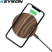 KEYSION Holz 10W Qi Schnelle Drahtlose Ladegerät für iPhone XS Max XR X 8 Plus Drahtlose Aufladen Pad für samsung S10 S9 7 Xiao mi mi 9