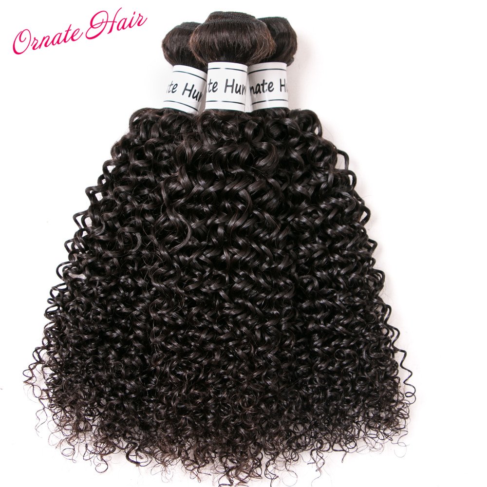 Ornate 3 Bundle Deals Brazilian Weave Kinky Curly Bundles 12-24 Inch Human Hair Extension Natural Color Non Remy Free Shipping