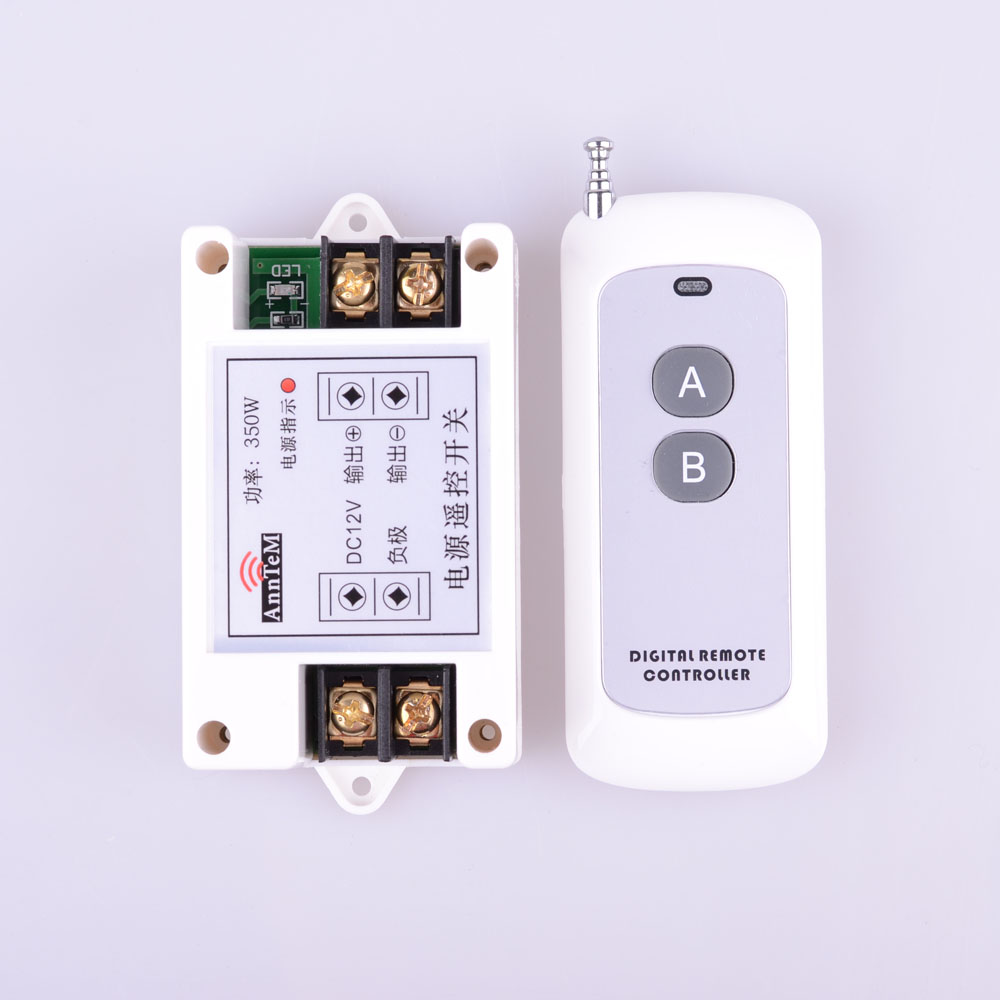 DC 12V 40A 1 CH RF Wireless Remote Control Lighting Switch System Wireless Receiver + White 2 Button Power Remote Transmitter 12v 8 ch channel rf wireless remote control switch