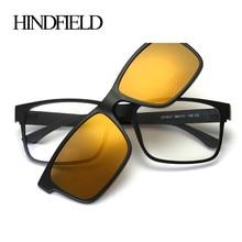 HINDFIELD Fashion Square Optical Glasses Frame With Sunglasses lens Brand Designer Vintage Prescription Eyeglasses Women Men