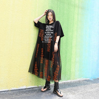 Women Summer Short Sleeve Embroidery Mesh Spliced Print Tshirt Dress Female Streetwear Punk Gothic Long Plus Size Black Dresses