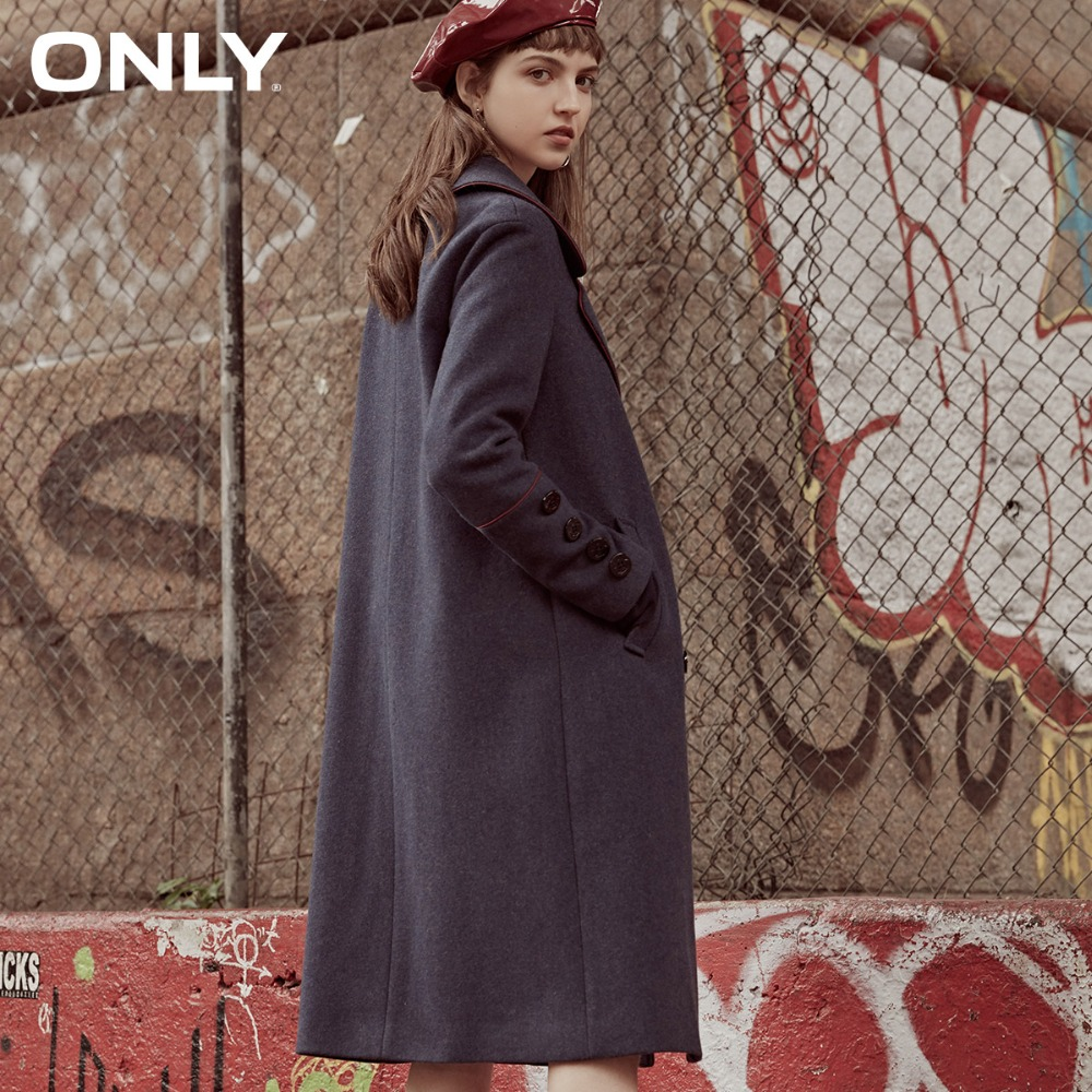 ONLY womens 39 winter new long woolen coat Rolling design Button design 11834S530 in Wool amp Blends from Women 39 s Clothing