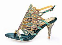 Venta caliente 2016 del pavo real del rhinestone de tacón alto sandalias de gladiador de moda bling bling tacones gruesos hebilla verano zapatos mujeres del partido