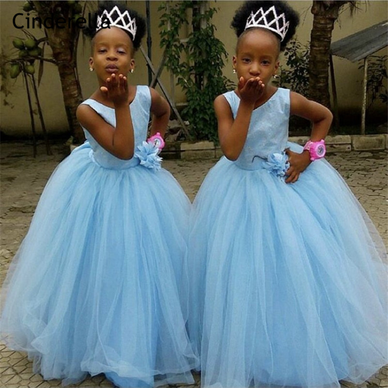 Cinderella Baby Blue Hand Made   Flower   Soft Tulle   Flower     Girls     Dresses   Zipper Back Crystal Little   Girl   Party Gowns