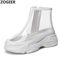Women Vulcanized Shoes Sneakers Flat Heel Mesh Fabric Breathable Fashion Comfortable Platform Black White Sneakers Plus size 45