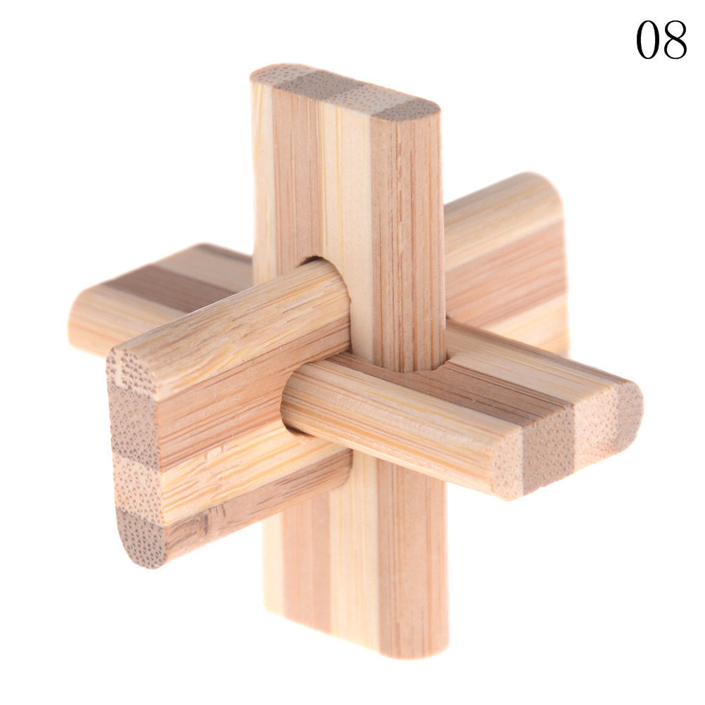 Kong Ming Luban Lock Kids Children 3D Handmade Wooden Toy Adult Intellectual Brain Tease Game Puzzle 14