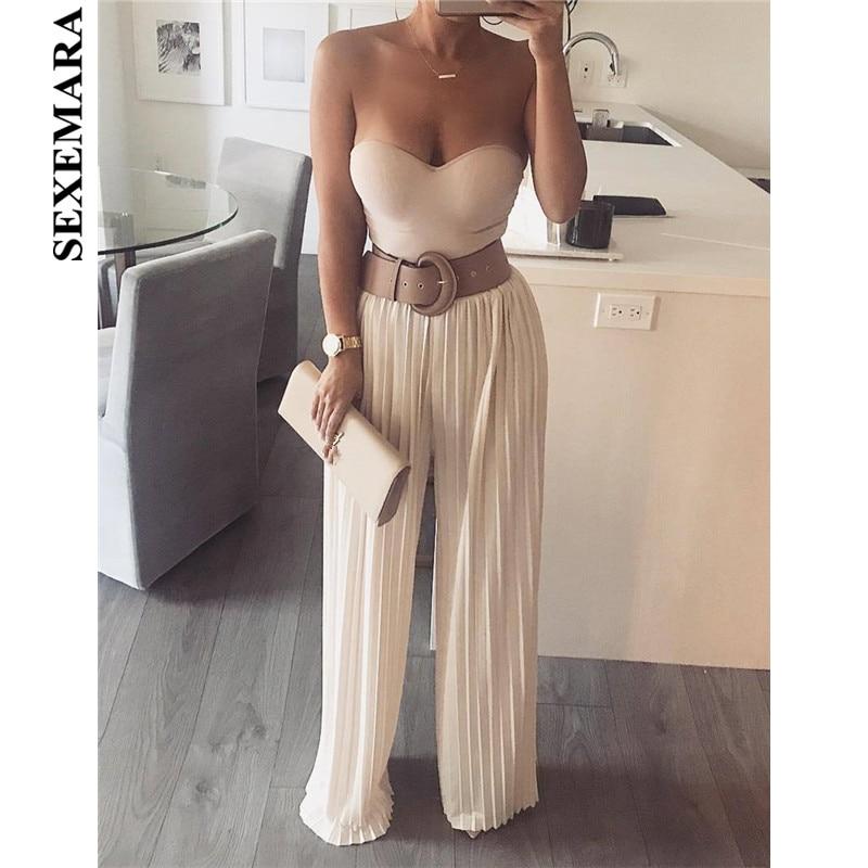 SEXEMARA Pleated   Wide     Leg     Pants   2019 Autumn Women Fashion High Waist Loose Baggy Trousers Black Sexy Palazzo   Pants   C34-AB42