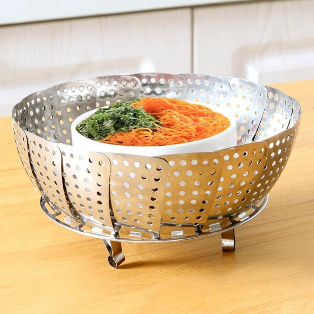 Sale 1PC Stainless Steel Steamers Practical Telescopic Steaming Basket Buns Dumplings Food Fruit Vegetable Dish Steamer 10200B