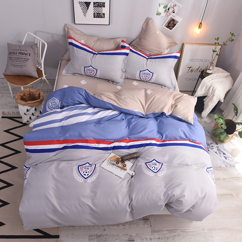 100% Cotton Printed charm of Soccer Set Football field star Duvet Cover Bed Sheet Pillowcases Twin Queen size 3/4 Pcs100% Cotton Printed charm of Soccer Set Football field star Duvet Cover Bed Sheet Pillowcases Twin Queen size 3/4 Pcs