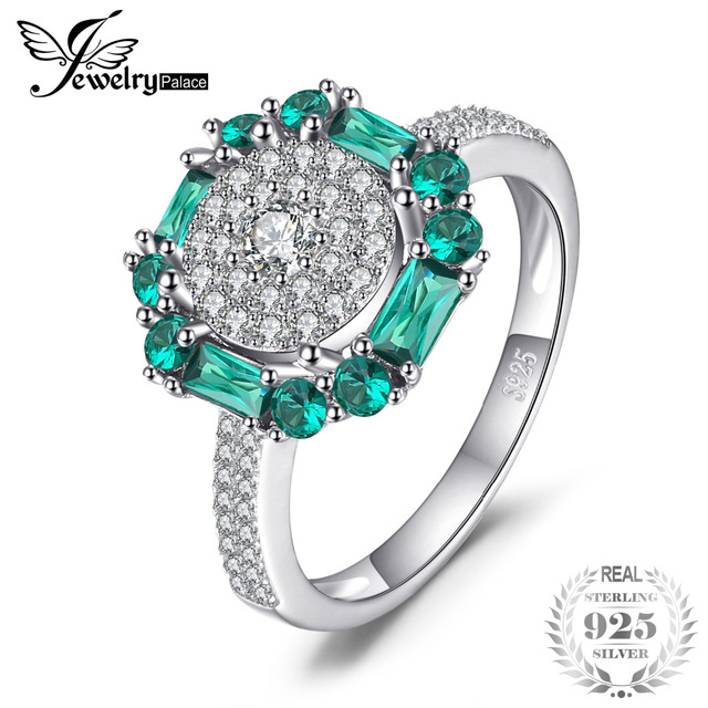 JewelryPalace 1ct Created Emerald Ring 100% Real 925 Sterling Silver Vintage Fin