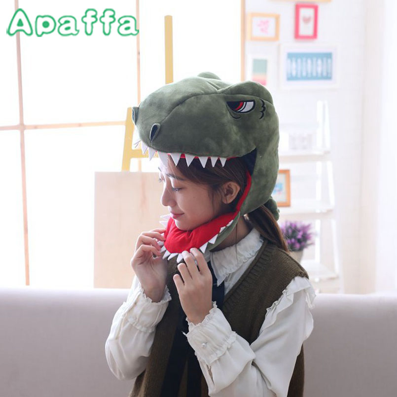 25cm Hot Sale Creative Dinosaur Headgear Hat Stuffed Toy Simulation Animal Plush Dolls Soft Toys Kids Christmas Birthday Gifts hot sale cute cartoon animal hats one piece chopper plush cosplay hat after pink color plush soft caps earmuff
