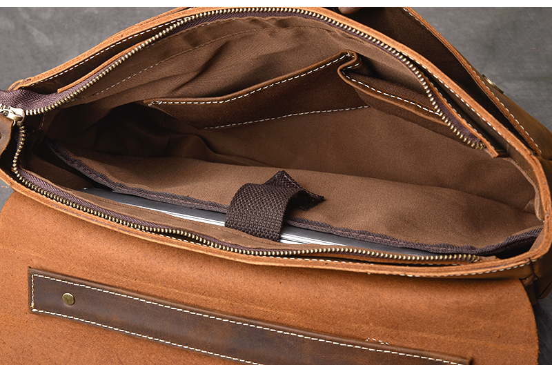 Luxury Leather Shoulder Bag inside compartment
