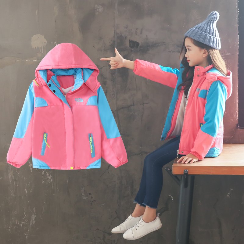 4-13 year old girl Windbreaker autumn and winter Fashion Detachable hat Plus velvet thickening trench Fashion kids outwear