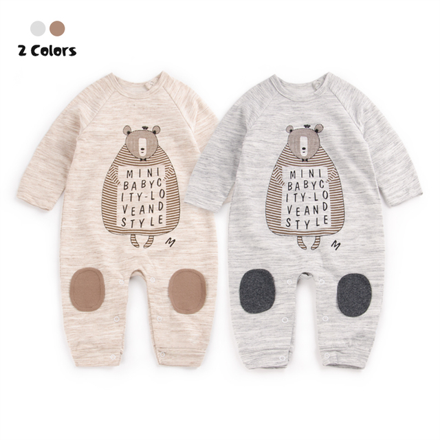 2017 Macacão de Bebê Crianças Conjunto de Roupas de Outono Bebê Recém-nascido menino traje de Roupas Roupas de Algodão Macacão de Manga Longa Bebê Menina