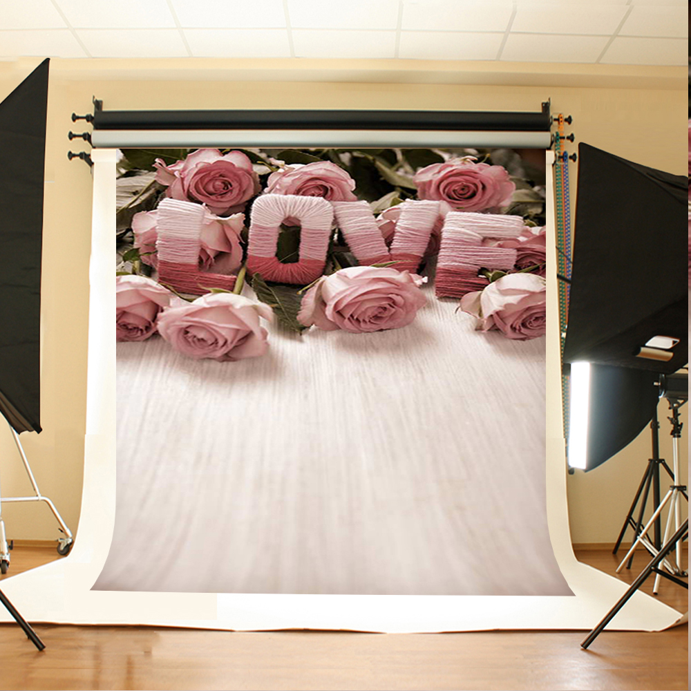 Wedding Photography Background Flowers Love Green Leaves Photo Booth backdrops Gray Board Background for Photographic Studio
