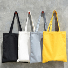 2019 women Solid Canvas Casual Tote shoulder bags for girls female DIY handbags eco friendly shopping bag