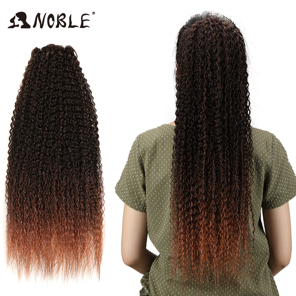 Noble Kinky Curly Hair Bundles Extensions 3 Tone Ombre Hair Weave Bundles 28 30 32 34 36 Inches Super Long Hair Synthetic Hair