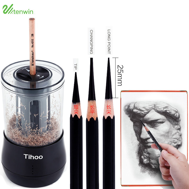 все цены на TEN-WIN Creative Dual Power Multifunction Automatic Art Learning Sketch Papelaria Electronic Electric Pencil Sharpener