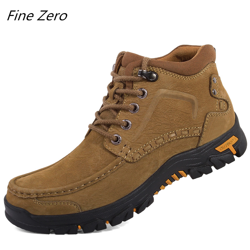 Genuine Leather Lace Up 38~47 Men Boots Plush Warm Winter Men Shoes Big Size Anti Skidding Outdoor Shoes Men Black Brown Sneaker
