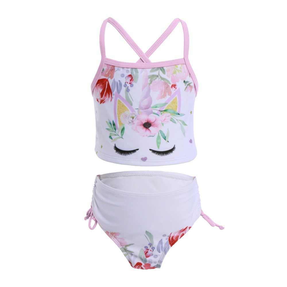 4394dd0aef 2pcs Set Cute Kids Swimming Suit for Children Girls Unicorn Flower Print  Girls Clothes Beach Holiday