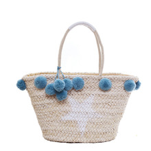 Straw bag Beach Bags Women Hand Knitting Handbags Casual Bucket Bag Summer 2017 new Shoulder