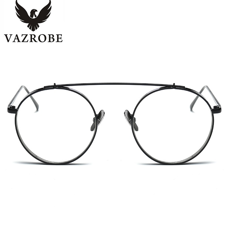 VAZROBE Clear Round Glasses Men Women Gold Silver metal circel ...
