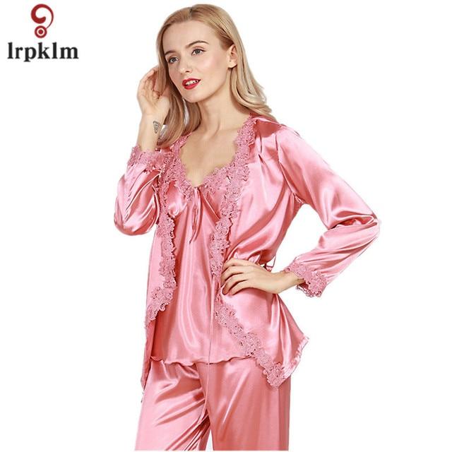 Lady Silk Satin Pajama Women Sexy 3 Pieces Pajama Set Sleepwear V-neck Top  Wrist Sleeves Full Length Pant Nightgown Autumn SY07 c96c8a5bf