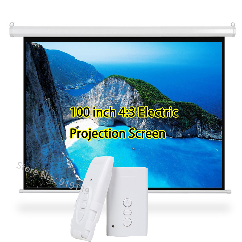 3D Electric Projector Screen 100 Inches 4:3 Projection Screen 80x60inch Viewable Area For HD Beamer Cinema School Classroom