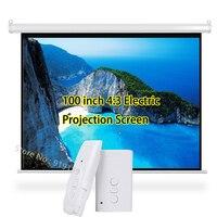 Tüketici Elektroniği'ten Projeksiyon Ekranları'de 3D elektrikli projektör perdesi 100 inç 4:3 Projeksiyon Ekranı 80x60 inç Görüntülenebilir Alanı HD Beamer Sinema Okul Sınıf