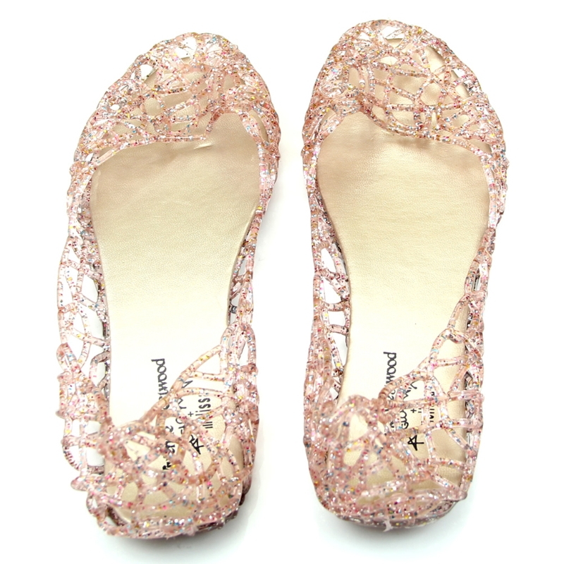 2018 New Summer Beach Shoes Ventilate Crystal Jelly Hollow Out Birds Nest Flat Sandal lcx 2017 summer pvc hollow out sandals glitter flat stock the bird nest hole wholesale or retail