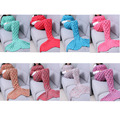 Kids Adults Crocheted Mermaid Tail Wool Knitting Fish Style Little Tail Blankets Warm Sleeping Child Adult Princess Loves Gifts