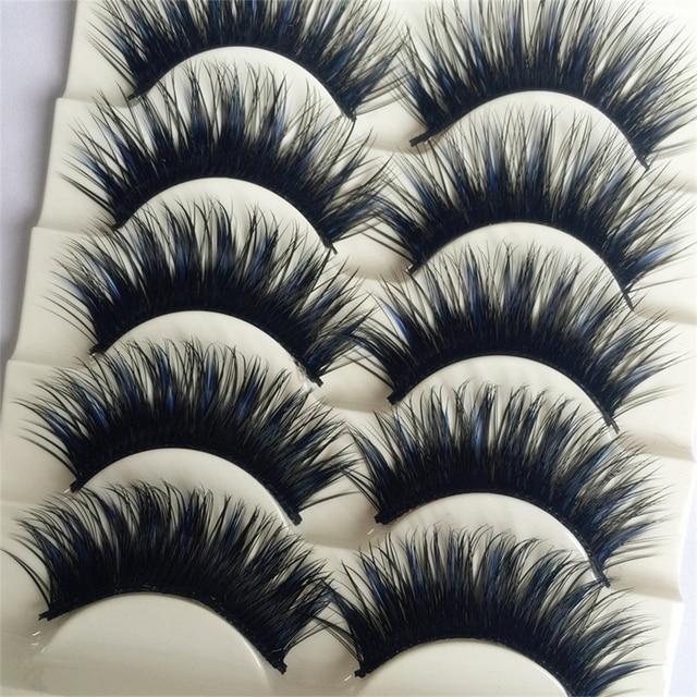 Black & blue 5 pares/caixa grosso eye lashes extensão festa maquiagem cosmestic maquiagem beauty cílios postiços cruzam falso macio