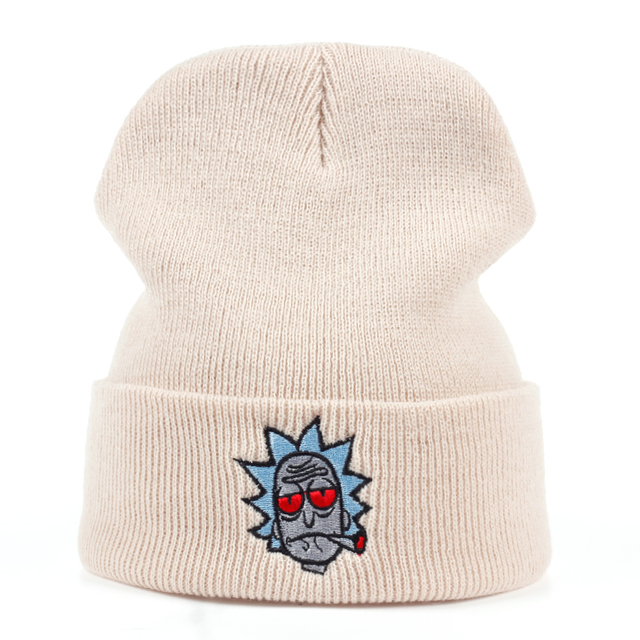 Rick and Morty Beanie Rick Smoking Hats Elastic Brand Embroidery Warm Winter Knitted Hat Skullies US Animation Ski Red Eyes Cap 1