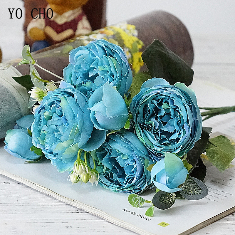 Beautiful Rose Peony Artificial Silk Flowers small bouquet flores home party spring wedding decoration mariage fake Flower (20)