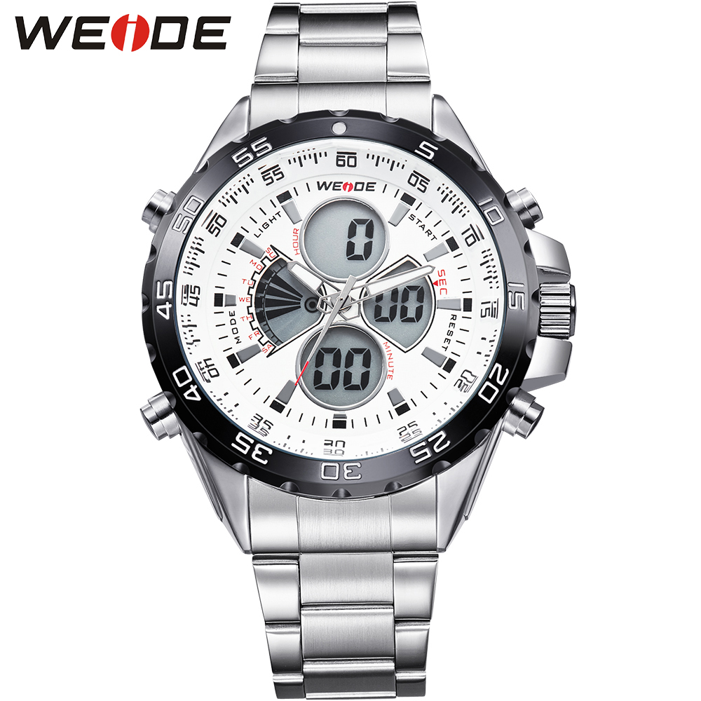 ФОТО WEIDE Silver Stainless Steel Watch Men 30 Waterproof Analog Digital Display Auto Date Quartz Movement Watches Sale Items
